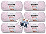 Bernat Softee Baby Yarn - 6 Pack Bundle with Pattern Cards in Color (Pink Flannel Ombre)