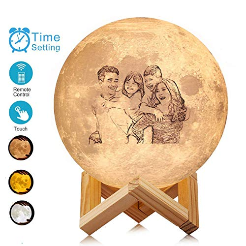 Moon Lamp Personalized 3D Night Light, Custom Made Moon Lamp: Put (Photo, Text, Pattern) On The Moon Light, Moon Lamp with Stand 16 Colors Touch Control&Remote Control LED Decorative Night Light