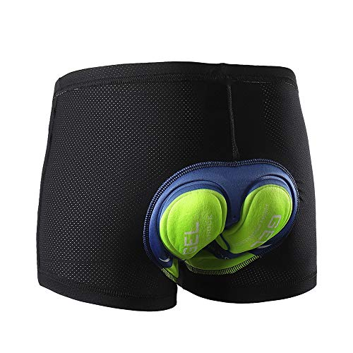 Cycling Shorts with Soft Pad Unisex Bicycle Cycling Comfortable Underwear Breathable Silica Gel Padded Bike Short(Size:L,Color:Green)
