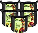 Calmify Grow Bags, 5 Pack 1 Gallon, Heavy-Duty Thickened NONWOVEN Aeration Fabric Plant POTS with Durable Handles, Vegetable/Flower/Plant Container, Indoor & Outdoor, Dark Grey