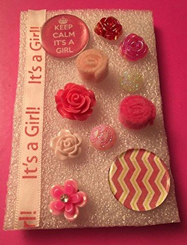 Resin Keep Calm It's A Girl and Chevron Tacks, Felt Tacks, Resin Tacks, Memo Board, Bulletin/Cork Board, Hostess Gifts, Shades of Pink, It's A Girl