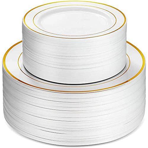 BASOYO Lot de 50 assiettes élégantes en plastique rigide - Réutilisables - Idéales pour les fêtes, les dîners, les mariages et les événements
