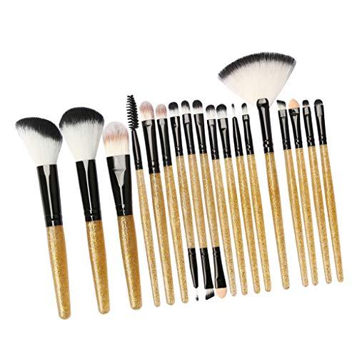 T TOOYFUL 18xLip Balm Maquillage Pinceaux Poudre Liquide Crème Cosmétique Mélange Pinceau Outil - Noir doré