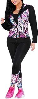 Akmipoem بدلة الركض للنساء 2 قطعة طباعة لباس رياضي بذلة طويلة الأكمام سحاب سترة سترة رياضية مجموعة