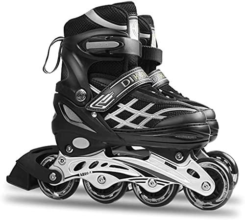 TongNS1 Inliner Skates für Kinder/Jungen/Mädchen, Einstellbare Bequeme Inline-Skates Rädern für Kinder und Jugendliche Inline-Skates black,M