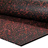IncStores 1/4' Tough Rubber Roll (4' x 10') - Excellent Gym Floor mats for Medium/Large Equipment and Light/Moderate Free Weights (1 Mat - 4'x10' Bright Red)