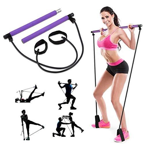 Kit de barra de pilates para yoga, pilates, portátil, con banda de resistencia, gimnasio en casa, pilates con bucle para pie, barra de ejercicio duradera para entrenamiento corporal completo, yoga, estiramiento
