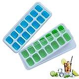 Frdzsw Bac à Avec Couvercle Non-Déversement, Moules, BPA,Lfgb Certifié, Glace Cube Tray Pour l'Eau Cocktails Et Autres Boissons (2 Pack), 2, 2