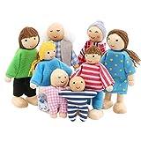 SumDirect Familia de 8 Muñecas de Madera el Juego de la Familia de muñecas Set para niños niños