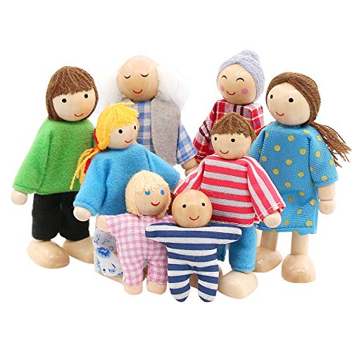 SumDirect Sets of 8 People Wooden Family Doll Toys, Lovely Happy Family...
