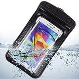 Waterproof Pouch Case with Built in Headphone Adapter, Waterproof Earphones for Samsung Galaxy S5 Note 3 Note 2, BLU Studio 5.5, BLU 5.0 (Black)