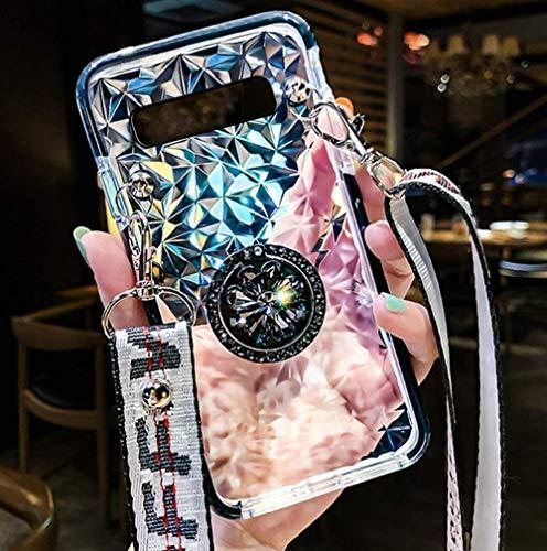 Saceebe Compatible avec Samsung Galaxy S10e Coque Fille Glitter Étui Silicone Housse Paillette Strass Brillante Bling Diamant avec Support Bague Collier Tour de Cou Chaîne Cordon Lanière,Noir