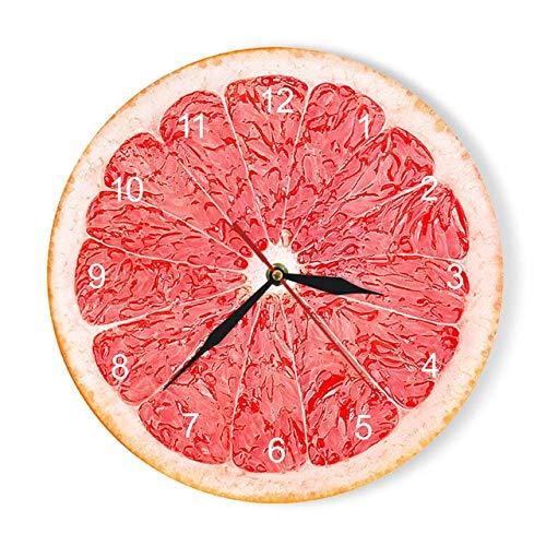 XYQY Gelbe Zitrone Obst Wanduhr Kalk Moderne Küchenuhr Uhr Wohnkultur Wohnzimmer Uhr Wandkunst UhrenRot