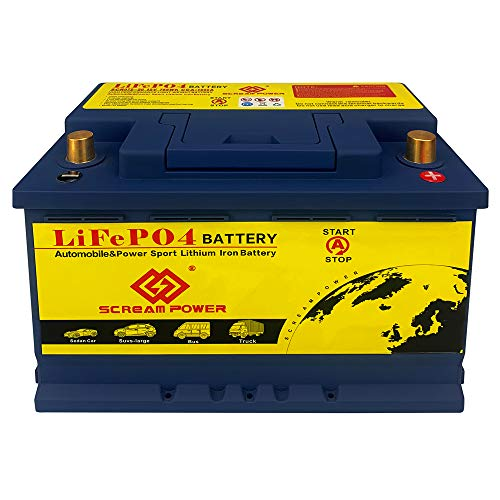 LiFePO4 Car Battery 12V 60AH Deep Cycle LFP Rechargeable Lithium Iron Phosphate Battery Lightweight 2500-7000 Life Cycles Built-in BMS For Automobile Overland RV Van Truck Sports Racing