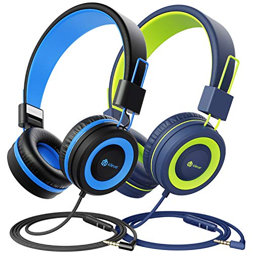 [2 Pack] iClever Kids Headphones with Microphone - Sharing Splitter - Headphones for Boys Girls with Safe Volume Limited 85dB/94dB, Adjustable Foldable Headphones for Online School/Travel/Tablet