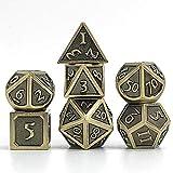 S-TROUBLE Set di Dadi in Metallo con Numeri Romani, 7 PC Gioco di Ruolo in Metallo D&D Dadi con Custodia in Metallo Gratuita per Giochi di Ruolo D&D