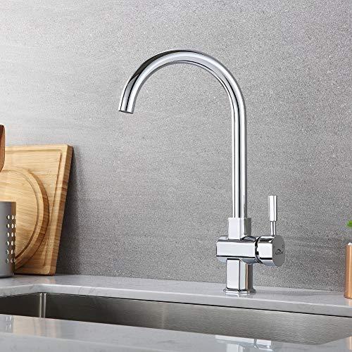 Auralum Moderno Universal Cromo Grifo de Cocina Extraible para Fregadero 360°Rotación Caliente y Fría del Grifería, Color Plateado (Mezclador de Cocina de Alto Brillo)