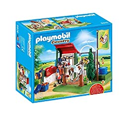 Fun for little horse fans: PLAYMOBIL Horse Grooming Station with real water pump, Mustang and other accessories for detailed re-enactments 1 figure, 1 horse, integrated hand pump, hook and box for storing accessories, etc., Can be combined with PLAYM...