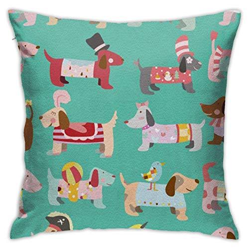 Throw Pillow Cover Dachshund Square Funda de Almohada Decorativa para sofá Dormitorio Coche