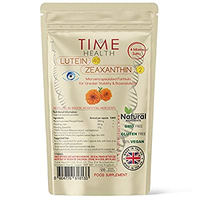 Lutein 40mg with Zeaxanthin 2mg – New Micro-encapsulated Formula – 100% Pure Natural Highly Bioavailable – UK Manufactured (120 Capsule Pouch)