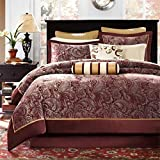 12 Piece Maroon Gold Luxury Paisley Pattern Comforter Queen Set, Eye-Catching Motif Floral Design Bedding Burgundy Ivory Bohemian Hippie Flowers Print, Traditional Style, Vibrant Colors, Polyester