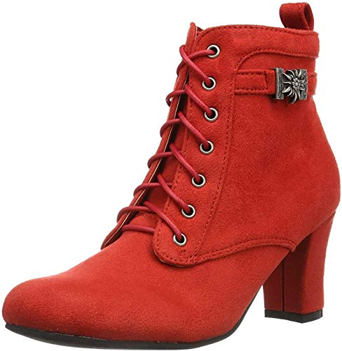 Hirschkogel Damen 3617400 Kurzschaft Stiefel, Rot Rot 021, 37 EU