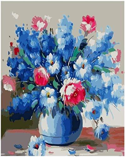 Jkykpp olieverfschilderij, digitaal, vaas, blauw, rood, DIY decoratie van het huis, cadeau, zonder lijst, canvas, voor kinderen, leerlingen, handgeschilderd, 40 x 50 cm