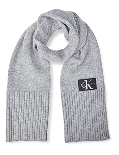 Tommy Hilfiger J Basic Men Knitted Scarf Bufanda, Gris (GREY P01), One Size para Hombre