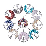 PH PandaHall 10pcs Tree of Life Pendant Charms, Assorted Colors Gemstone Chakra Crystal Stone Pendant for Necklace Earring Jewelry Making