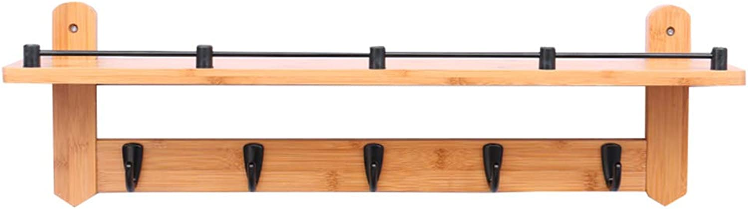 LAXF- Coat Racks Free Standing Wooden Bamboo Coat Racks Living Room Wall Hooks Bedroom On The Wall Shelf Clothes Hook (color   Black, Size   5)