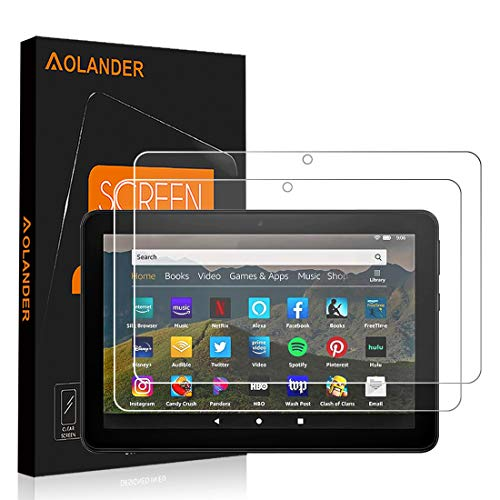 AOLANDER para Amazon Fire HD 8 2020/ 8 Plus/ 8 Kids Edition Cristal Templado Protector de Pantalla, 9H Dureza [2.5D , 0.3mm] [Anti Arañazos] [Sin Burbujas] Screen Protector [2 Pack]