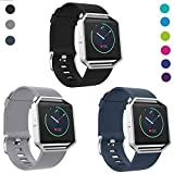 SKYLET Compatible with Fitbit Blaze Bands with Frame, 3 Pack Soft Silicone Replacement Sport Wristband with Stainless Steel Frame Compatible with Fitbit Blaze Bracelet Black Men Women