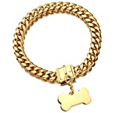 Jewelry Kingdom 1 Gold Dog Chain Collar with Dog ID Tag 18K Metal Stainles Steel Cuban Link Chain Strong Heavy Duty Chew Proof Walking Training Choker Collar (15MM, 14')