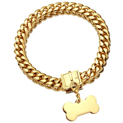 Jewelry Kingdom 1 Gold Dog Chain Collar with Dog ID Tag 18K Metal Stainles Steel Cuban Link Chain Strong Heavy Duty Chew Proof Walking Training Choker Collars. (15MM, 10')
