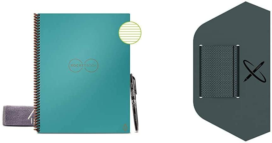 "Rocketbook Smart Reusable Notebook - Lined Eco-Friendly Notebook with 1 Pilot Frixion Pen & 1 Microfiber Cloth Included - Neptune Teal Cover, Letter Size (8.5"" x 11"") & Pen/Pencil Holder (Pen Station)"
