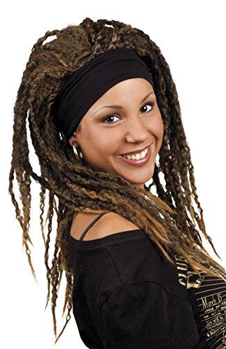 Boland 86376 - Perücke Emily mit schwarzen Haarband, Dunkelbraun, Rastalocken, Dreadlocks, Rastafari, Jamaika, Accessoire, Motto Party, Karneval