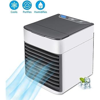 Aire Acondicionado Móvil Enfriador Ventilador USB Climatizador Mini 3 en 1 Personal Enfriador de Aire Humidificador Ventilador Escritorio con 3 Velocidades y 7 Colores LED Luz de la Noche: Amazon.es: Bricolaje y herramientas