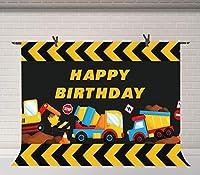 HD 7x5ft建設テーマ誕生日パーティーの背景ダンプトラックの背景パーティー壁紙写真スタジオ装飾背景部屋壁画BJDSFU33