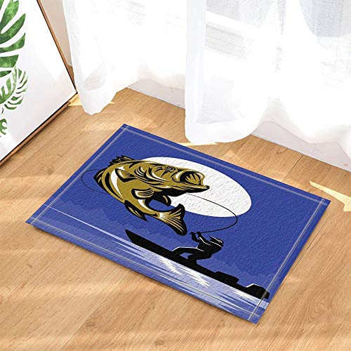 123456789 Oil Painting Decor Man Fishing in Boat Silhouette at Moon Bath Rugs Non-Slip Doormat Floor Entryways Indoor Front Door Mat Kids Bath Mat 60X40CM Bathroom Accessories