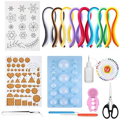 Ouinne 19 Stücke Quilling Werkzeuge Papier Kit, Werkzeuge Zubehör Set Kunst Handwerk 900 Streifen Quilling Papier DIY Design Zeichnung Werkzeug