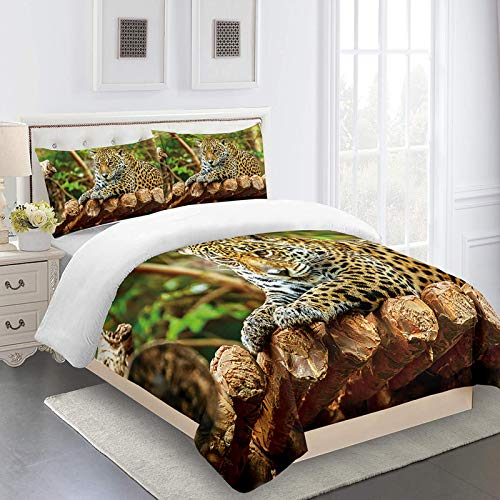 UDUVOG Funda Nórdica 240X220Cm - 3D Estampada Leopardo Animal De La Selva Juego De Ropa De Cama 3 Pcs Fundas De Edredón Nórdico/Fundas De Almohada/Sábanas para Adulto Cama 90/135/150/180