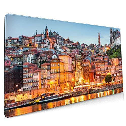 Ortugal huizen Megapolis wolken Lissabon Mouse Pad Niet Slip Rubber Grote Gaming Keyboard Mat 15.8x35.5 In