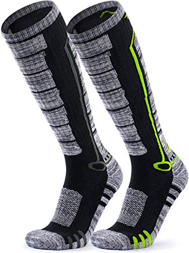 TSLA Unisex Ski Winter Active Snowboard Comfort Calf Socks, 2pairs(mzs82) - Black & Grey/Black & Neon, L [Men 8.5-11_Women 9.5-13]