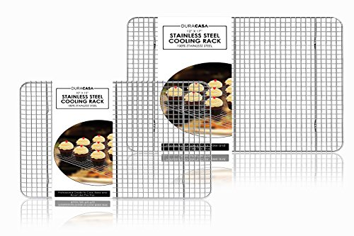 "Baking Rack - Cooling Rack - Stainless Steel 304 Grade Roasting Rack - Heavy Duty Oven Safe, Commercial Quality Cooling Racks For Baking - Metal Wire Grid Rack Design (1-10""x15"" and 1- 12""x17"")"