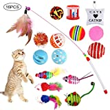 GOLDGE 16 Piezas Juguetes para Gatos, Juguete Interactivo con Plumas para Gatos, Ratóns y Bolas Varias para Gatos