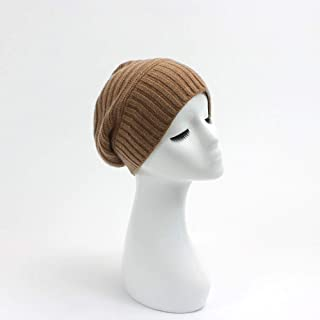 Graceful Cashmere Hat, Women's Cashmere Hat in Autumn and Winter, Knitted Warm Hat, Comfortable, Breathable, Light and Versatile Cashmere Hat (Color : Brown)