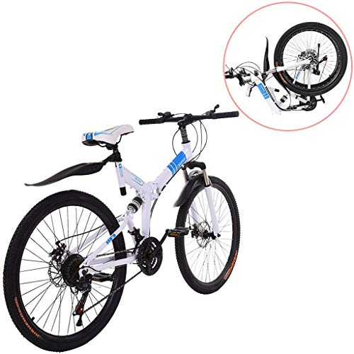 Adult Mountain Bikes 26 Inch Mountain Trail Bike High Carbon Steel Full Suspension MTB Speed Bicycles 6 Spoke 21 Speed Gears Dual Disc Brakes Outdoor Mountain Bicycle - US Stock