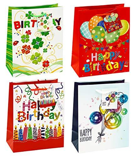 TSI 83015 Geschenkbeutel Happy Birthday in der 12er Packung, Größe: Mittel (18 x 10 x 23 cm)