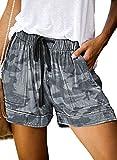 ROSKIKI Women's Drawstring Elastic Waist Summer Casual Beach Shorts Pattern Camouflage Large