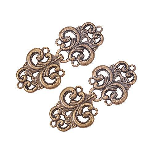WANDIC Sujetadores de Corchete de la Capa, 2 Pares de los Cierres del Cabo de la Flor del Remolino cosen en los Ganchos y los Ojos Cardigan Clip, Antiguo